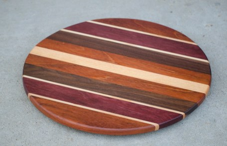 "Lazy Susan 16 - 004. Jatoba, Hard Maple, Purpleheart, Black Walnut & Honey Locust. 17"" diameter."