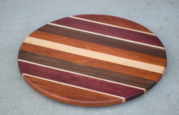"Lazy Susan 16 - 004. Jatoba, Hard Maple, Purpleheart, Black Walnut & Honey Locust. 17"" diameter."