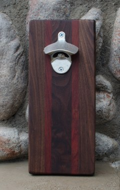 "Magic Bottle Opener 16 - 03. Black Walnut & Bloodwood. Approximately 5"" x 10"" x 3/4""."