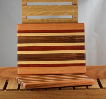 "Cheese Board 16 - 014. Cherry, Padauk, Hard Maple & Black Walnut. 8"" x 11"" x 3/4""."