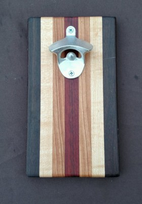 Magic Bottle Opener 16 - 055. Black Walnut, Hard Maple, Cherry & Bloodwood.. Double Magic for refrigerator mount.