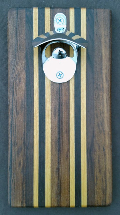 Magic Bottle Opener 16 - 061. Teak, Black Walnut, & Yellowheart. Double Magic for refrigerator mount.