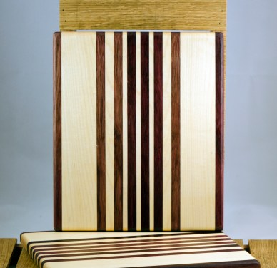 "Cheese Board 16 - 016. Purpleheart & Hard Maple. 9"" x 11"" x 3/4""."