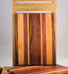 "Cheese Board 16 - 023. Jatoba, Cherry & Bubinga. 8"" x 11"" x 3/4""."