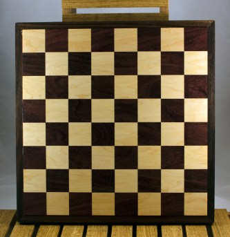 "Chess 16 - 01. Purpleheart & Hard Maple playing surface with a Purpleheart frame. Squares are 2-1/8"" across."