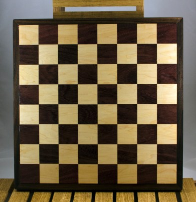 """Chess 16 - 01. Purpleheart & Hard Maple playing surface with a Purpleheart frame. Squares are 2-1/8"""" across."""