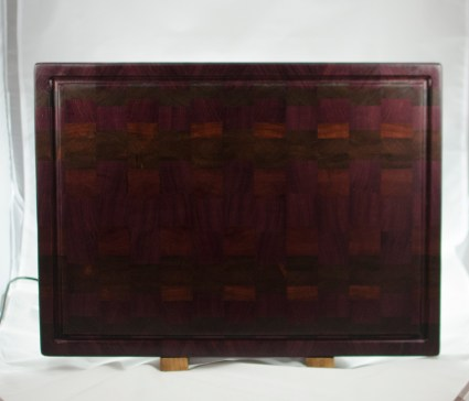 "Cutting Board 16 - End 033. Purpleheart, Black Walnut, Bloodwood & Jatoba. 16"" x 21-1/2"" x 1-1/2"". $375."