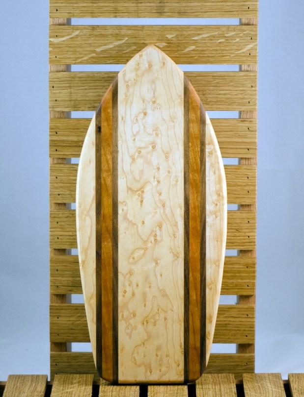 Small Surfboard 16 - 02. Birds Eye Maple, Black Walnut & Canarywood.