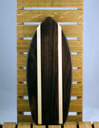 Small Surfboard 16 - 07. Black Walnut, Purpleheart & Hard Maple. Sold in its first showing.