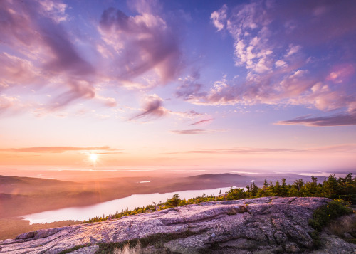 "Acadia National Park in Maine is known for its sunrises. The park is one of the first places to see the sunrise in the U.S., but its sunsets are also stunning! Photographer James Kaiser captured this magical view from the top of Cadillac Mountain after a rainy day: ""Even when things seem gloomy, conditions can quickly change. It's one of nature's most important lessons, and national parks help us appreciate it firsthand."" Photo courtesy of James Kaiser. Posted on Tumblr by the US Department of the Interior, 8/2/16."