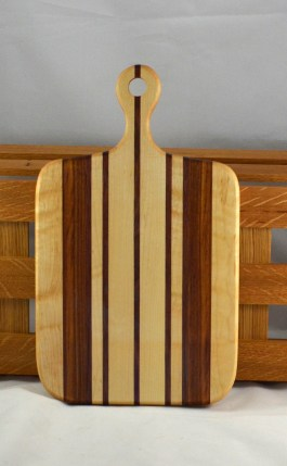 "Sous Chef 16 - 017. Birdseye Maple, Canarywood & Purpleheart. 16"" x 9"" x 3/4""."