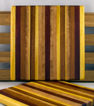 "Cheese Board 16 - 036. Yellowheart, Bloodwood, Jatoba, Cherry, Goncalo Alves & Bubinga. 11"" x 11"" x 7/8""."