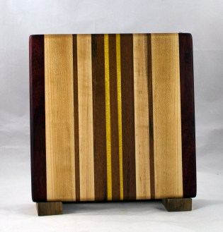 "Small Board 16 - 022. Black Walnut, Jatoba, Yellowheart & Hard Maple. 10"" x 10"" x 7/8""."