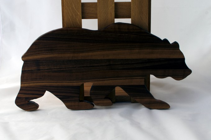 "Bear 16 - 01. Black Walnut. 12"" x 20"" x 3/4""."