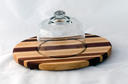 Domed Cheese & Cracker Server 16 - 03. Hard Maple, Jatoba & Cherry. Footed.