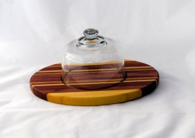 Domed Cheese & Cracker Server 16 - 08. Yellowheart, Bubinga, Bloodwood, Cherry & Padauk. Made for 2-sided use, but feet could be added.