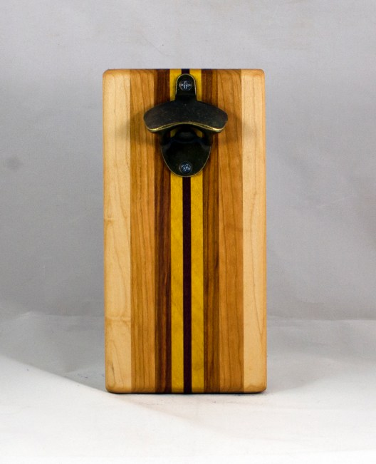 Magic Bottle Opener 16 - 145. Hard Maple, Cherry, Canarywood, Yellowheart & Purpleheart. Double Magic.