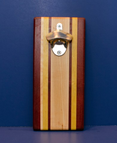 Magic Bottle Opener 16 - 171. Purpleheart, Hard Maple & Yellowheart. Double Magic.