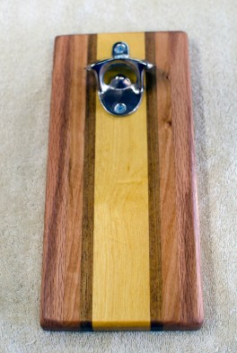 Magic Bottle Opener 181. Red Oak, Cherry, Teak & Yellowheart. Single Magic.