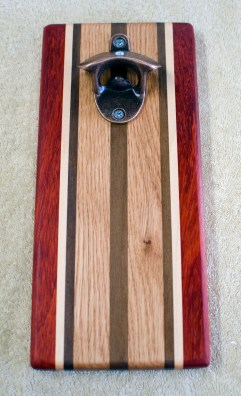 Magic Bottle Opener 188. Padauk, Hard Maple, Black Walnut & Red Oak. Single Magic.