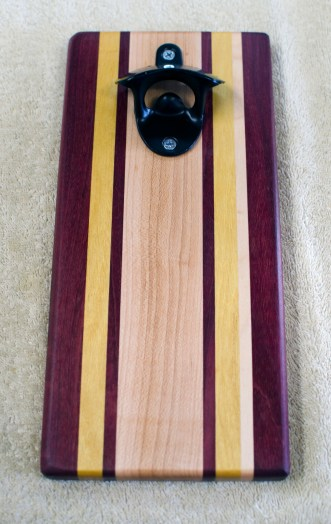 Magic Bottle Opener 192. Purpleheart, Yellowheart & Hard Maple. Single Magic.
