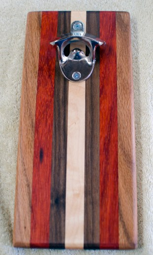 Magic Bottle Opener 194. Red Oak, Padauk, Black Walnut & Hard Maple. Single Magic.