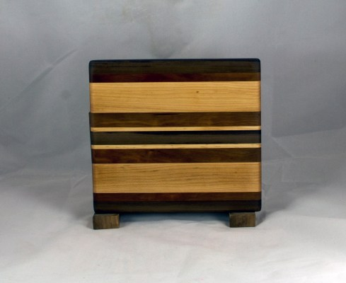 "Cheese Board 16 - 057. Black Walnut, Cherry & Hard Maple. 8"" x 8"" x 3/4""."