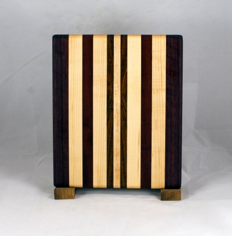 "Cheese Board 16 - 066. Jatoba, Purpleheart, Bloodwood & Hard Maple. 8"" x 11"" x 3/4""."