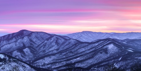 "You can never see too many sunsets on the Blue Ridge Parkway. After the first snow in Virginia this winter, photographer Brandon Dewey drove out to capture the sights. ""The sky normally lights up once the sun dips behind the mountain ridges, but this night, there wasn't that much color. About 20 minutes after sunset, I was just about to pack up my gear when the sky finally caught on fire for less than two minutes."" Photo by Brandon Dewey, Brandon Dewey Photography (www.bdeweyphoto.com). Posted on Tumblr by the Us Department of the Interior, 2/3/17."