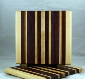 "Small Board 17 - 211. Hard Maple, Bloodwood, Cherry, Purpleheart & Bubinga. 11-1/2"" x 12"" x 3/4""."