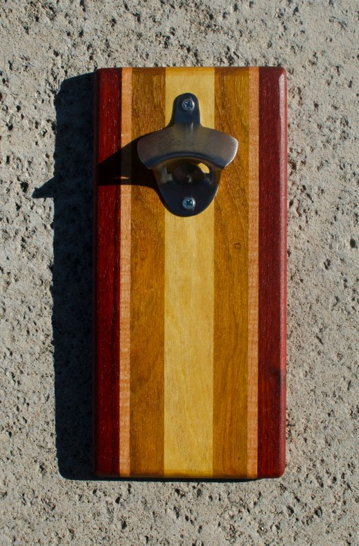 Magic Bottle Opener 17 - 611. Padauk, Cherry, Canarywood & Yellowheart. Double Magic.
