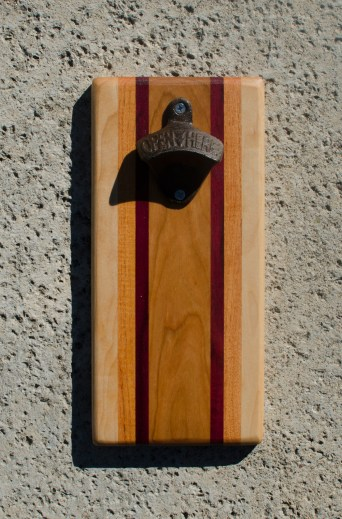 Magic Bottle Opener 17 - 615. Hard Maple, Honey Locust, Padauk & Canarywood. Double Magic.