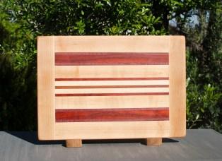"""Cutting Board 17 - 113. Hard Maple, Jatoba & Padauk. 10"""" x 14"""" x 7/8""""."""