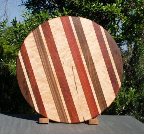 "Lazy Susan 17 - 10. Black Walnut, Birdseye Maple & Bloodwood. 18"" diameter."