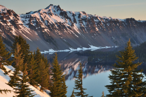 Scenes like this from Crater Lake National Park in Oregon remind us of the beauty and fragility of nature. Clear skies, fresh air, pure water and the serene sounds of breezes and birds inspire us to experience the natural world and protect it for future generations. Sunrise photo by Helen Kehrt. Posted on Tumblr by the US Department of the Interior, 4/22/17.