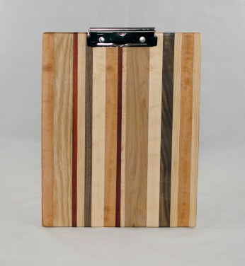 Clipboard 17 - 007. Cherry, Red Oak, Padauk, Black Walnut & Hard Maple. Chaos design. Letter size. Polyurethane finish.
