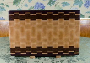 "Cutting Board 17 - 429. Jatoba, Purpleheart & Hard Maple. End Grain. 15"" x 21-1/2"" x 1-1/2""."
