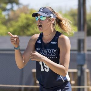 Beach Volleyball coach Alexa Rockas competing at the collegiate level