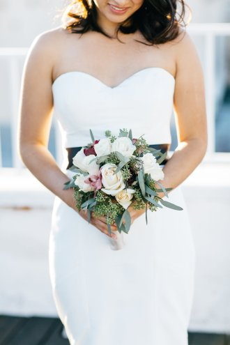 Bride in wedding gown and bridal bouquet. Floral bouquet. Moxie Bright Events.