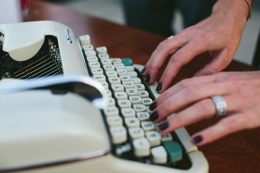 typewriter as guest book at wedding, The Fig House wedding