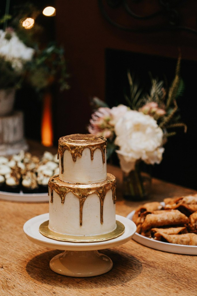 Sacred Sands Wedding, gold drip wedding cake