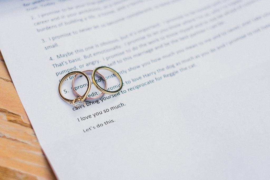 ring detail shot, smog shoppe wedding