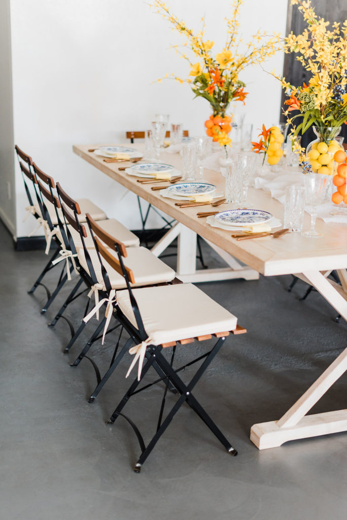 side view of summer table scape designed by Moxie Bright Events