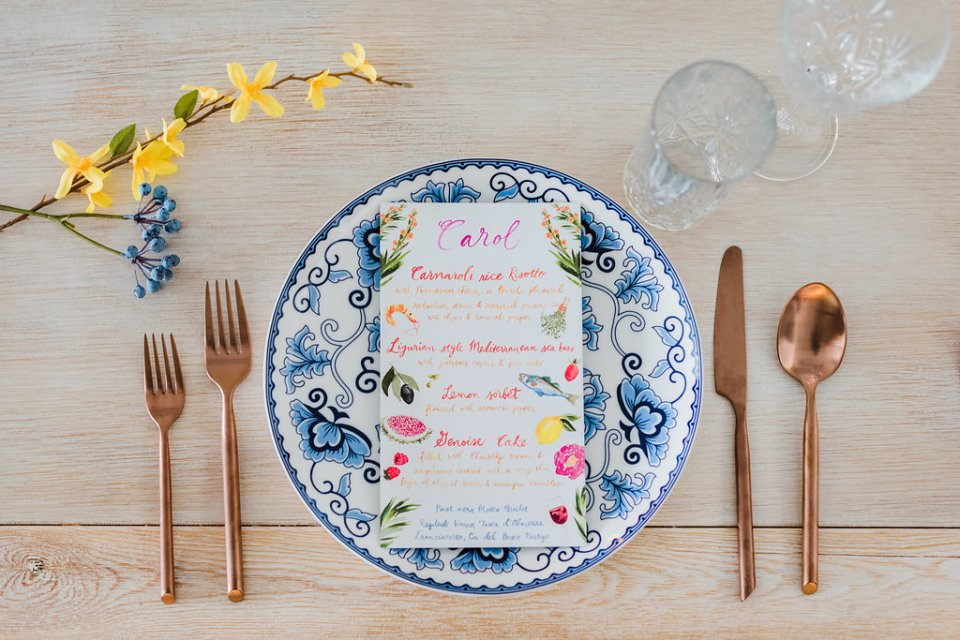 mixing patterns in a blue yellow and copper tablescape by Moxie Bright Events