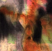 """ProtoNext #139 Acrylic and Map Ink on Paper, mounted on wood, 5""""x5"""""""