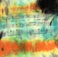 """**SOLD** ProtoNext #43 Acrylic and Sheet Music on Paper, mounted on wood, 5""""x5"""""""