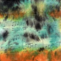 """**SOLD** ProtoNext #47 Acrylic and Sheet Music on Paper, mounted on wood, 5""""x5"""""""