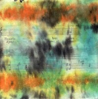 """ProtoNext #49 Acrylic and Sheet Music on Paper, mounted on wood, 5""""x5"""""""