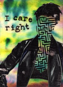 """I Care Right - Acrylic, Paper, and Pitt Pen on Hardboard - 7"""" x 5"""""""