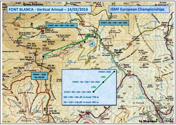 Esqui de Montaña Europeo Skimo Andorra Fontblanca Vertical Arinsal Mapa 14feb14